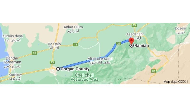 مسیر گرگان به رامیان روی نقشه
