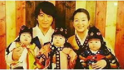 بازیگر نقش جومونگ به همراه همسر و فرزندانش
