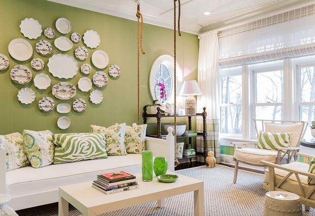اتاق نشیمن  را چطور با رنگ سبز  تزئین کنیم؟