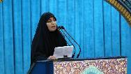فیلم سخنرانی دختر شهید سردار قاسم سلیمانی در مراسم تشییع پیکر شهدا