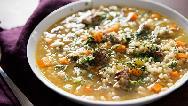 سوپ جو مجلسی با مرغ و قارچ؛ طرز تهیه کامل
